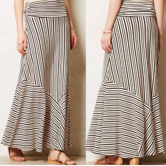 Size Small Sparrow Anthropologie Tan Knit Striped Maxi Skirt